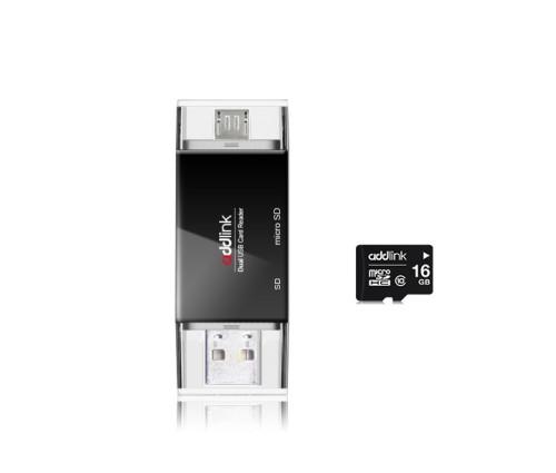 Универсальный картридер Addlink R10 4-in-1 Card Reader + microSD 16GB (ad16GBR10B2)